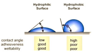 surface wetting hydrophilic vs hydrophobic surfaces